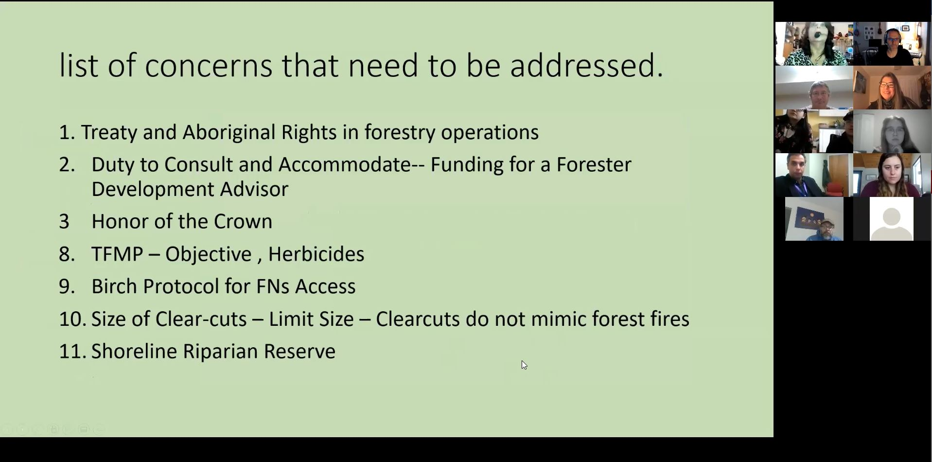 November 2020 - Community concerns with forestry